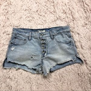 Free people button fly cutoff denim shorts